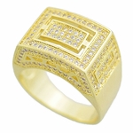 Gold Rectangle CZ Ring 16x13MM