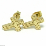 Diamond Cut Cross Earrings