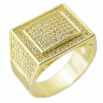 Gold Rectangle CZ Ring 12x10MM