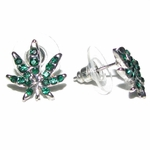 Emerald Green Pot Leaf Earrings