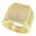 Gold Square CZ Ring 20x18MM