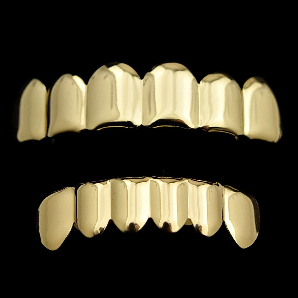 Gold Finish Teeth Grillz Set Grillz All Pieces