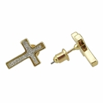 Gold Micro Pave Cross Earrings