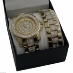 Gold Plated Watch And Bracelet Set