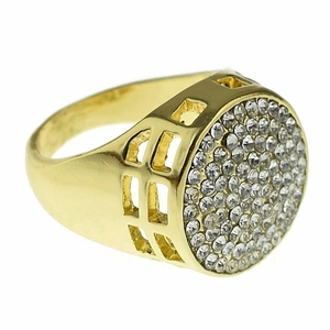 Round Micro Pave Gold Tone Ring