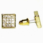 Gold Tone Square Iced-Out Earrings