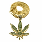 "Green Weed Gold Finish 36"" Chain"