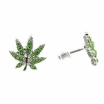 Green Weed Leaf Earrings