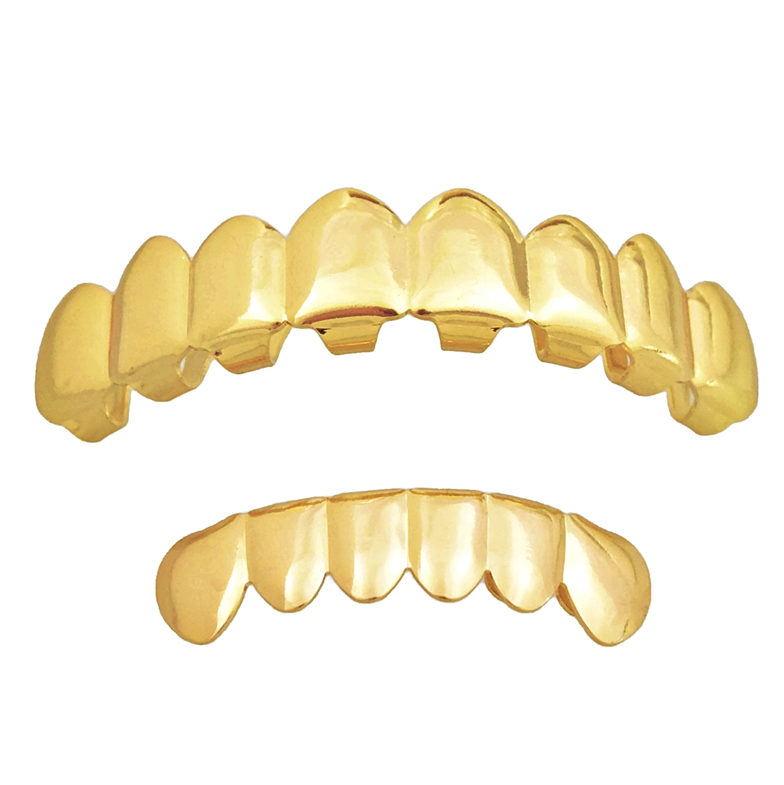 Plain Grillz Set 8 Top 6 Bottom Gold Teeth - Grillz - Full ...