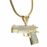 "Iced-Out Gun 36"" Franco Chain"
