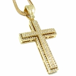 Iced-Out Cross Gold Finish Franco