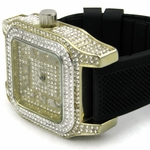 Gold Iced-Out Square Watch