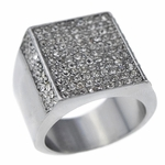 Square Side Pave Silver Tone Ring