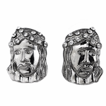 Jesus Iced-Out Silver Earrings