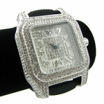 Iced-Out Silver Tone Hip Hop Watch