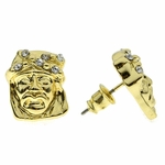 Short Jesus Face Gold Earrings