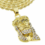 Micro Jesus Gold Rope Chain 24""