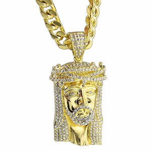 """Iced-Out Jesus Gold 30"""" Cuban Chain"""