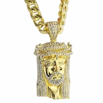 "Iced-Out Jesus Gold 30"" Cuban Chain"