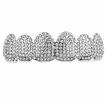 Micro Paved Silver Tone Top Grillz
