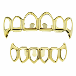 Gold 6 Open Fang Grillz Set