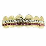 Gold 2 Row Pink Top Grillz