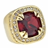 Gold Faux Red Ruby Ring