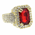 Faux Ruby Gold Iced-Out Ring