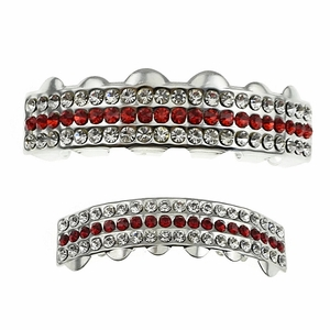 Three Row Iced Red Grillz Set