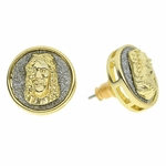 Round Jesus Gold Earrings 15MM
