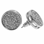 Round Pave Silver Earrings 15MM