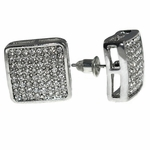 Round Square Silver Earrings 15MM