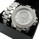 Silver Tone Iced-Out Watch & Bracelet