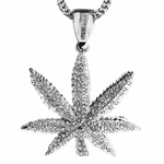 "Silver Pot Leaf 36"" Franco Chain"