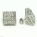 Silver Tone Pyramid Style CZ Earrings