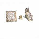Square Iced-Out Gold Tone Earrings