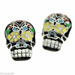 Sugar Skull Silver Tone Earrings