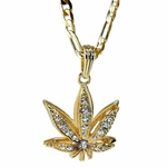 Weed Leaf Gold Plated Figaro Chain