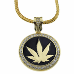 "Weed Medallion 36"" Franco Chain"
