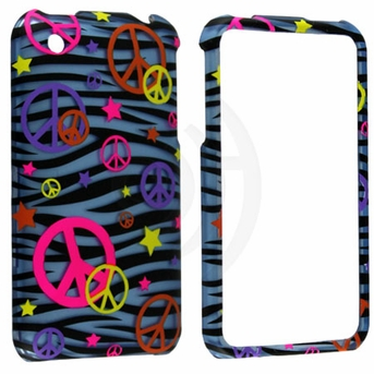 Apple iPhone 3G & 3GS Colorful Peace on Blue Zebra Cover
