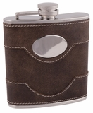6oz Brown Leather Bootlegger Flask