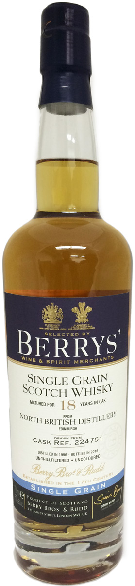 Berrys' North British Distillery 18 Year Old Single Grain Scotch 1996