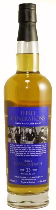 Duncan Taylor Glendronach Three Generations 33 Year Old Single Malt Scotch