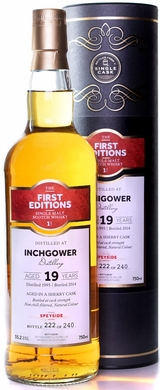 First Editions Inchgower 19 Year Old Single Malt Scotch 1995