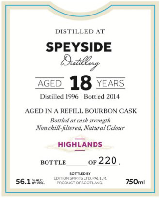 First Editions Speyside 18 Year Old Single Malt Scotch 1996