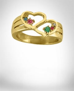 24K Gold Over Silver Heart Shaped Ring with Two Round Shaped Birthstones