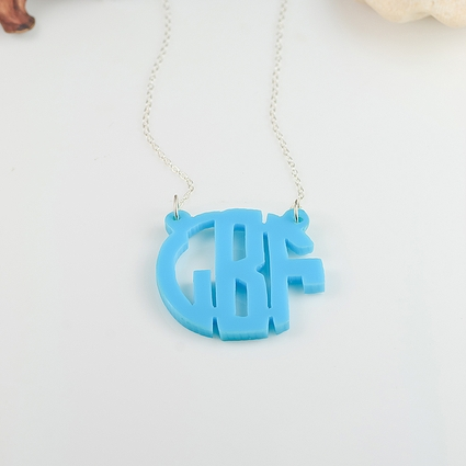 Handmade Personalized Acrylic Block Monogram Necklace