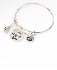 Adjustable Travel Girl Bangle Bracelet