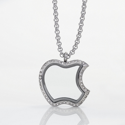 Apple Locket with Zirconia Crystals and 4 Floating Motifs of your choice