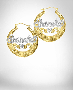 Beaded Round Bamboo Name Earrings